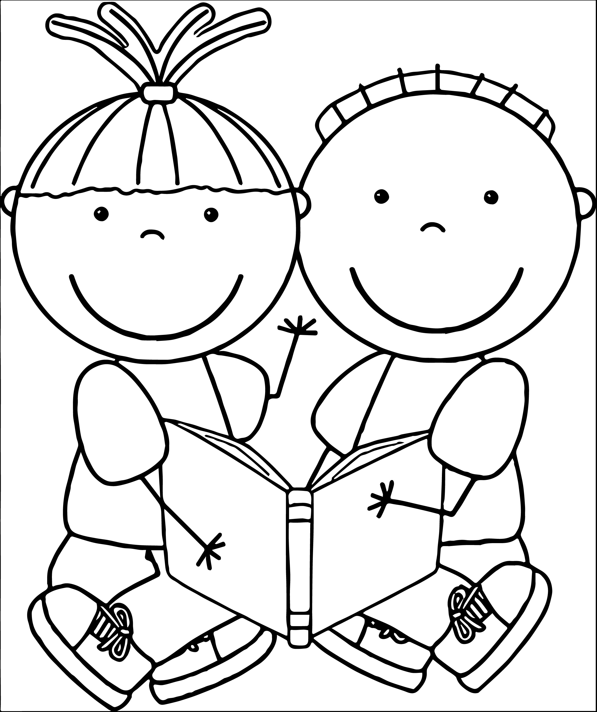 Children Reading Clipart Blac - Reading Clipart Black And White