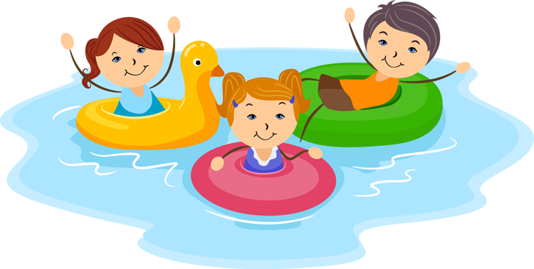 Fun Clip Art; swim kids .