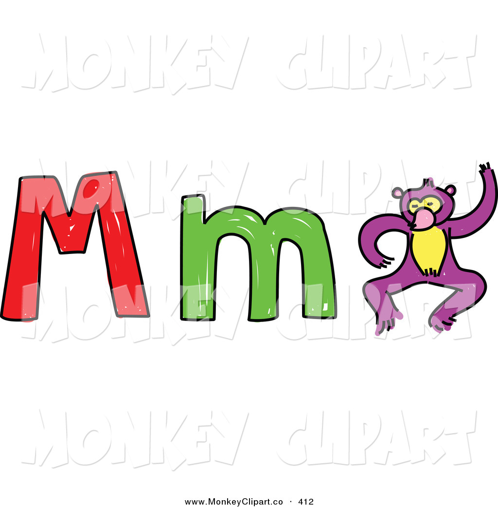 Childs Sketch of a Capital an - M M Clip Art
