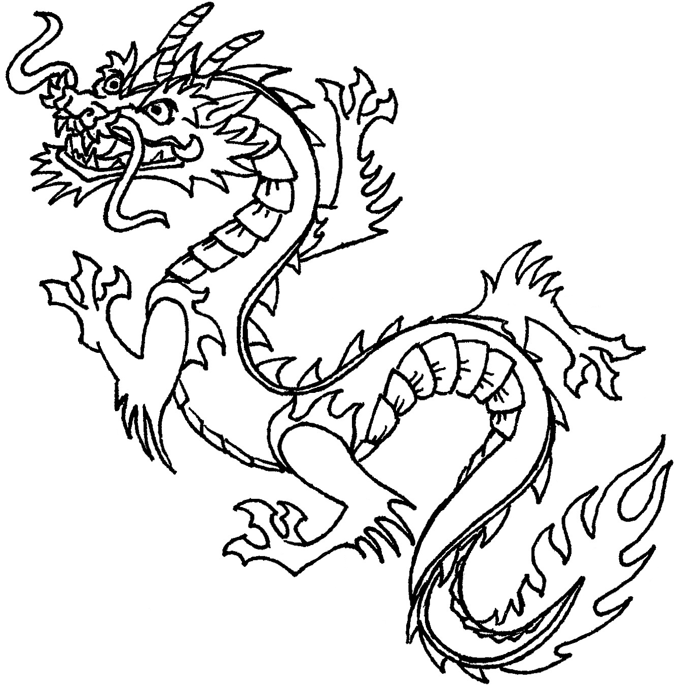 ... Chinese dragon clipart black and white cute ...