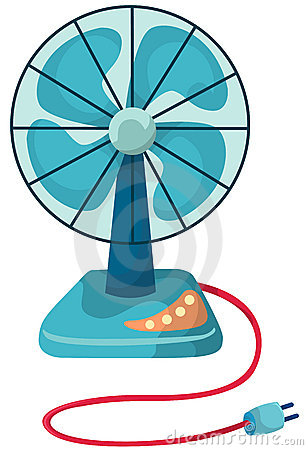Chinese Fan Clipart. Illustration Of Isolated Blue Desk Fan On White  Background