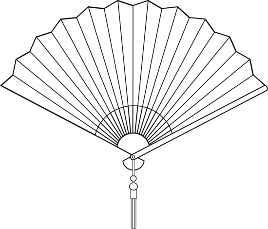 Chinese Fan Line Art - Fan Clip Art