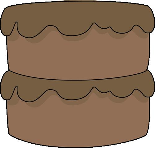 Chocolate Cake Clip Art Image - big two tier chocolate cake with chocolate icing.
