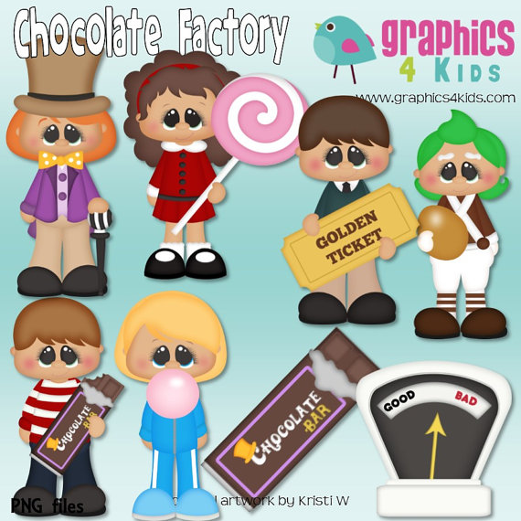 Chocolate Factory Willy Wonka Digital Clipart - Clip art for scrapbooking, party invitations - Instant Download Clipart Commercial Use | Pinterest | Clip ...