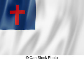 Christian flag, three dimensional render, satin texture
