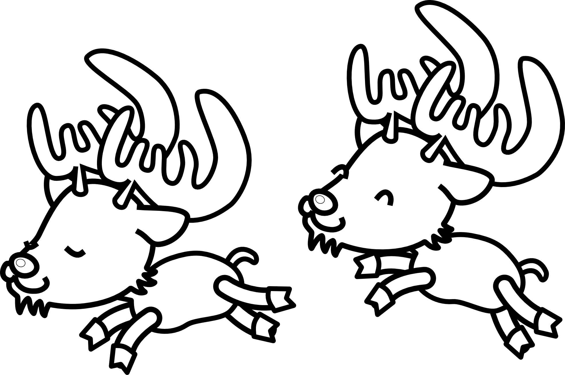 Christmas black and white reindeer christmas clipart black