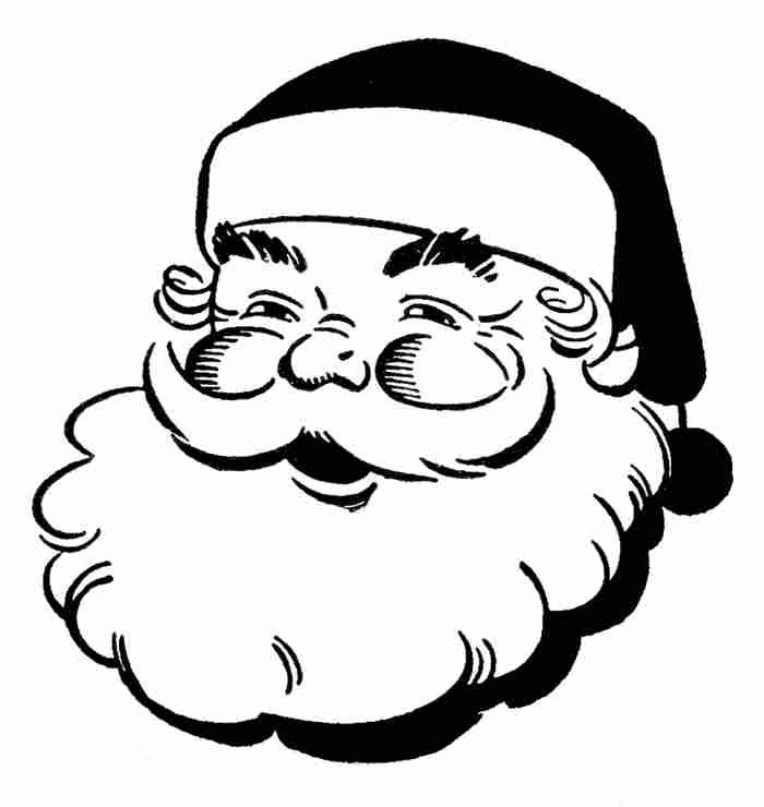 Christmas black and white santa. Clipart clipartlook