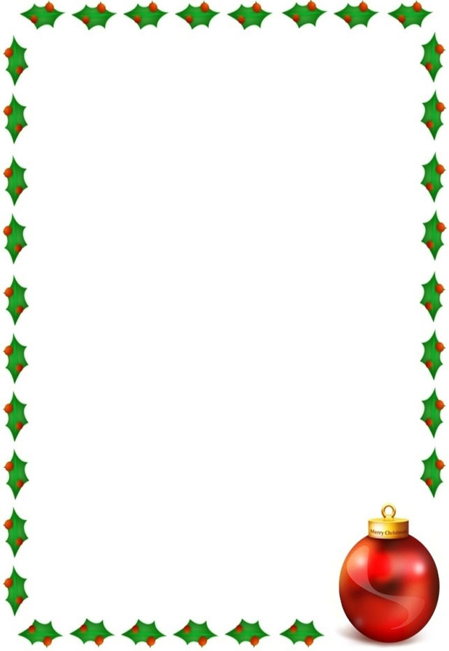 Christmas border with holly on 4 sides and a Christmas ornament
