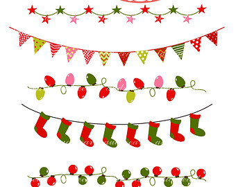 Christmas Buntingchristmas Border Clip A-Christmas Buntingchristmas Border Clip Art Instant Download Clip Art-4