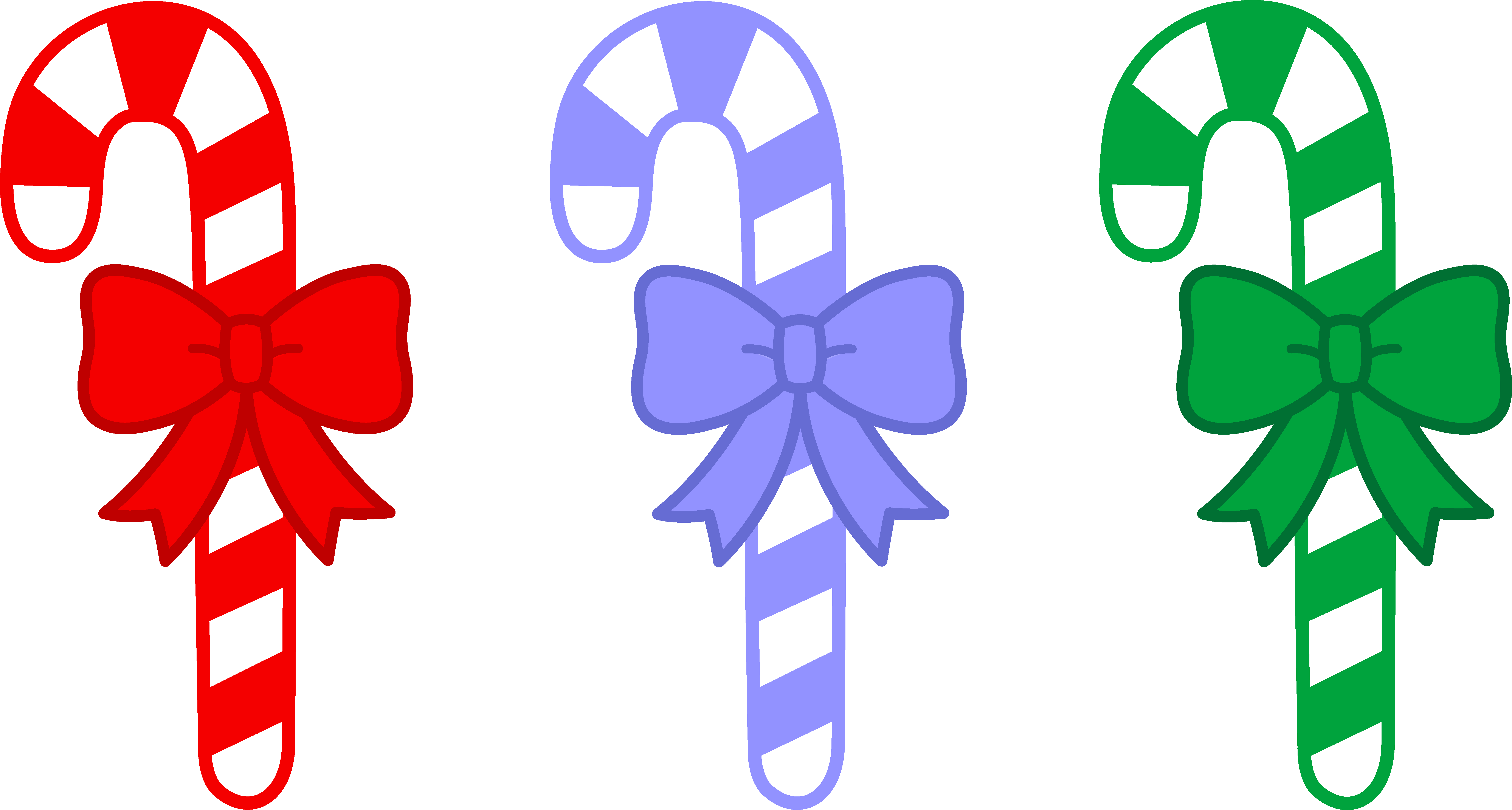 Christmas candy cane clipart. Three Candy Canes With Bows .