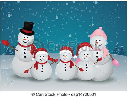 ... Christmas card with snowman family - Vector Illustration Of..