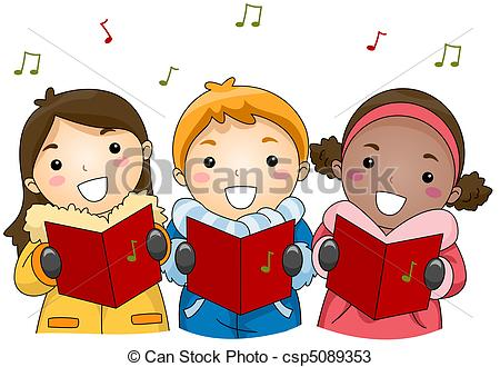 ... Christmas Carols - Illustration of Kids Singing Christmas.