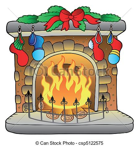 ... Christmas cartoon fireplace - vector illustration.