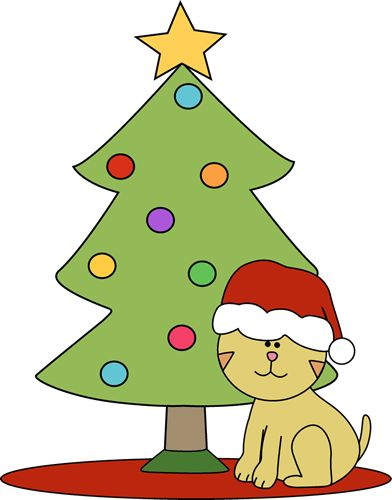 christmas cat clipart | Cat Sitting in Front of Christmas Tree Clip Art - Cat Sitting