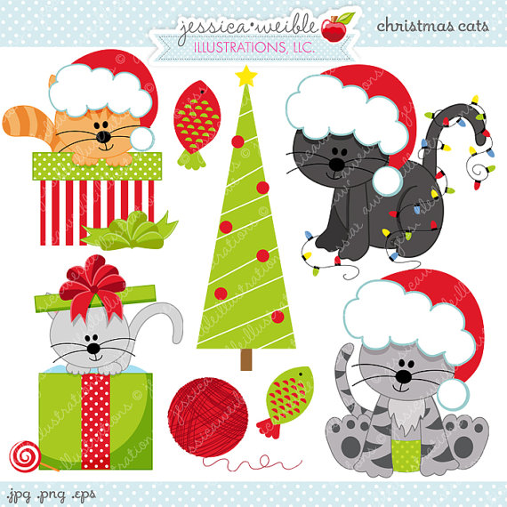 Christmas Cats - Cute Digital Clipart for Commercial and Personal Use, Christmas Clipart, Christmas