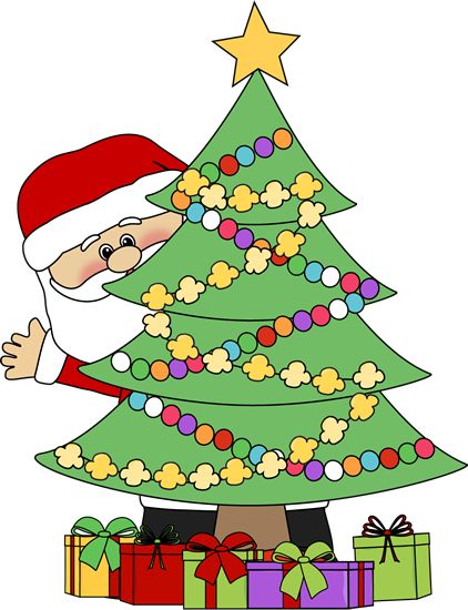 christmas clip art | Santa Behind a Chri-christmas clip art | Santa Behind a Christmas Tree Clip Art - Santa Claus  peeking out-14