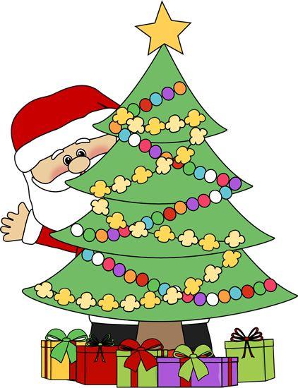 christmas clip art | Santa Behind a Christmas Tree Clip Art - Santa Claus peeking out