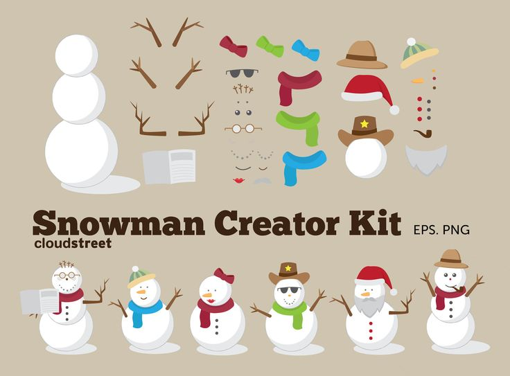 Christmas clip art : Snowman Creator Kit for personal and commercial use ( snowman clipart )