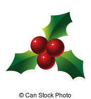 Christmas clip art Stock Illustrationby Peltsov14/1,444; Holly sprig on white background illustration