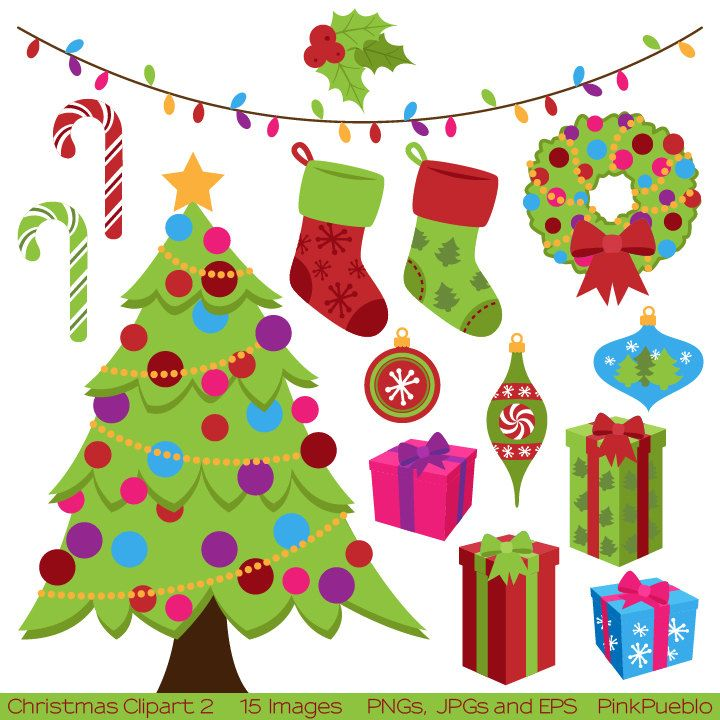 Christmas Clipart Clip Art, Holiday Clip Art Clipart with Tree, Stockings, Wreath,