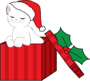 Christmas Clipart Image: Cute Little Kitty Coming out of a Christmas Gift Box
