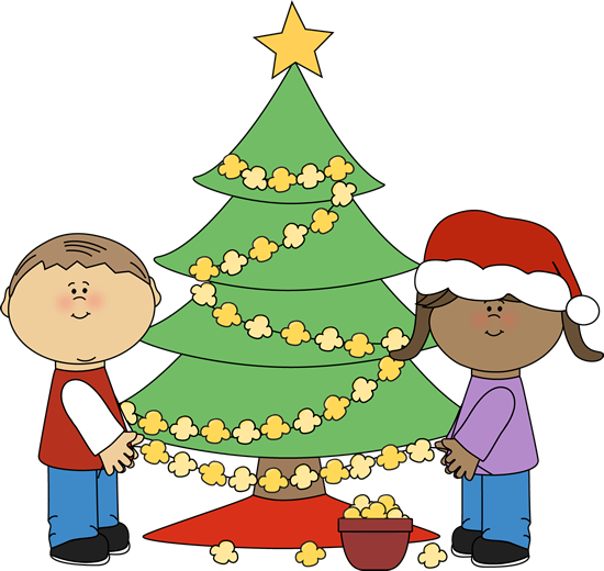 Kids Stringing Popcorn on Christmas Tree-Kids Stringing Popcorn on Christmas Tree-2