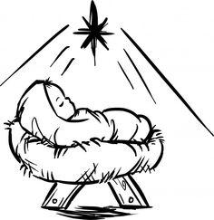 Christmas Clipart Nativity. Baby Jesus Manger Scene.