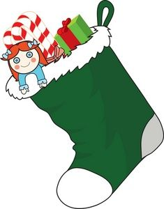 Christmas Dancers Clip Art Free | Free Stocking Clipart Image: Christmas Stocking with Stocking Stuffers