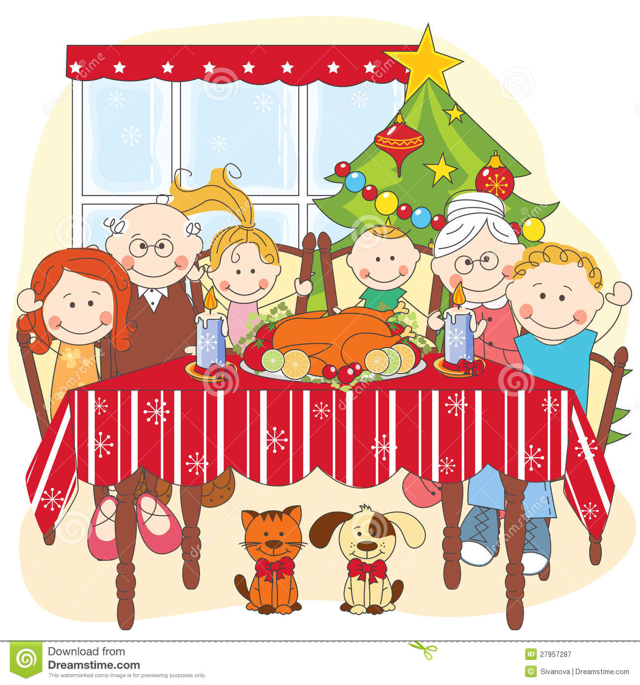 Christmas Dinner Big Happy Family Together Hand Drawing Illustration