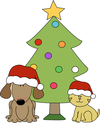Christmas Dog and Cat in Front of Tree
