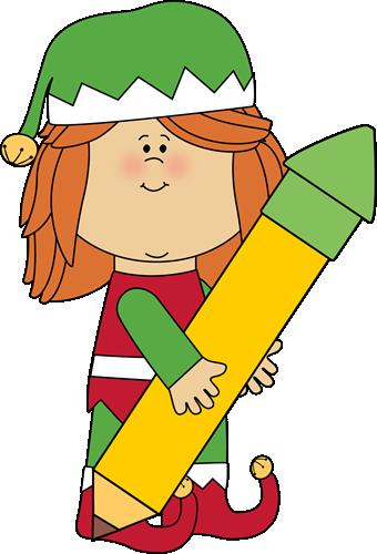 Christmas Elf Holding a Big Pencil Clip -Christmas Elf Holding a Big Pencil Clip Art - Christmas Elf-16