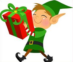 Christmas Elf with wrapped gift