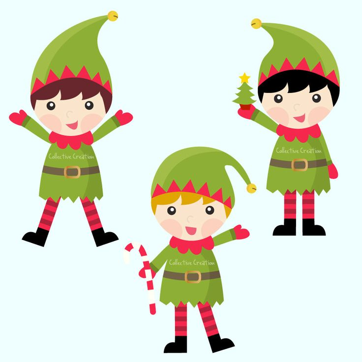 Christmas Elves Digital Clip Art Set Com-Christmas Elves Digital Clip art set comes with 3 separate Elves. Each Elf is saved as a high resolution png file with a transparent-5