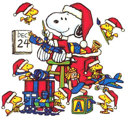 Christmas Eve Clip Art | Christmas Snoopy and Woodstock Christmas Eve Cartoon Clipart Image - I