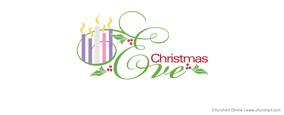 Christmas eve with candles clip-art