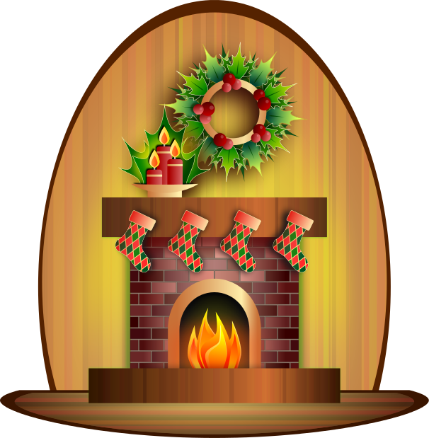 Christmas Fireplace Clipart - Fireplace Clip Art
