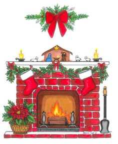 Christmas fireplace clipart free clipartall