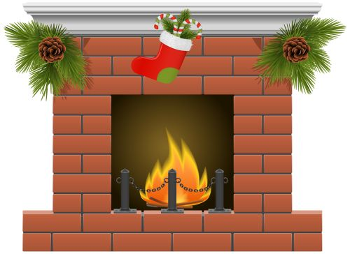 Christmas fireplace clipart the