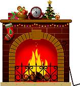 christmas fireplace; fireplace fire ...