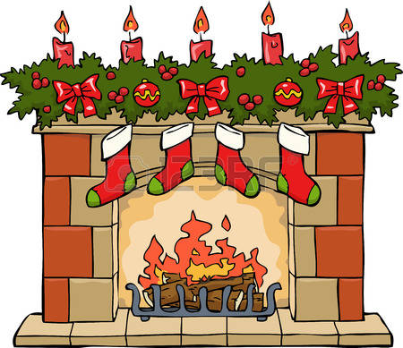 christmas fireplace: Fireplace in Christmas on a white background vector