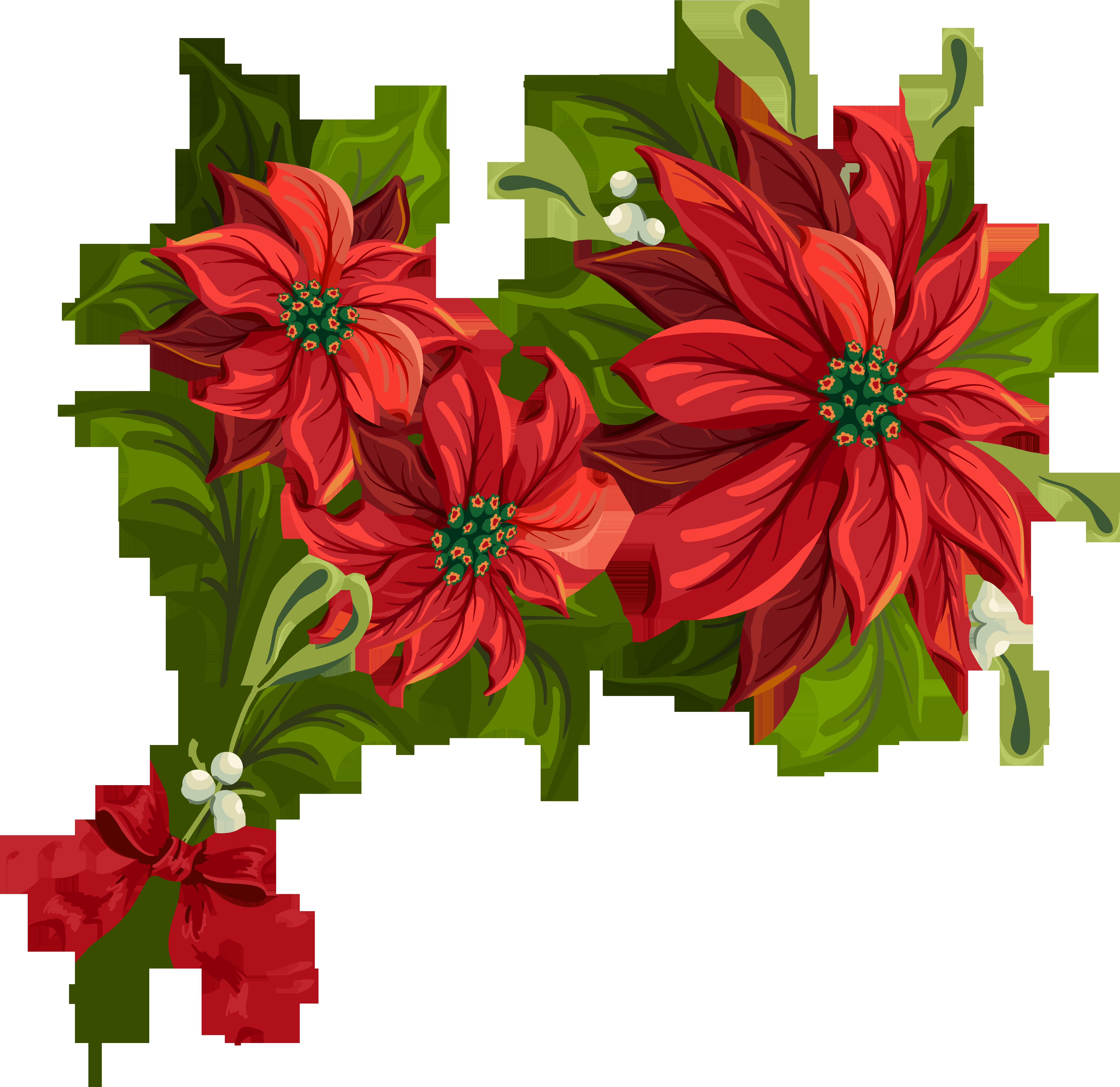 Christmas Garland Clip Art. Poinsettia cliparts
