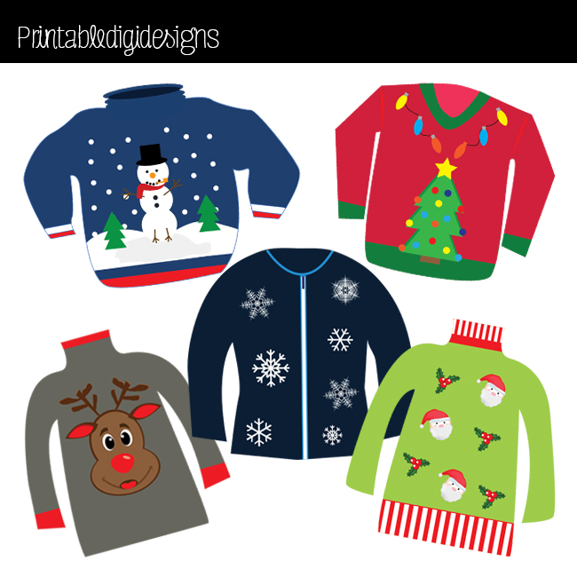 Christmas Glitter Dangling Ho - Ugly Christmas Sweater Clipart