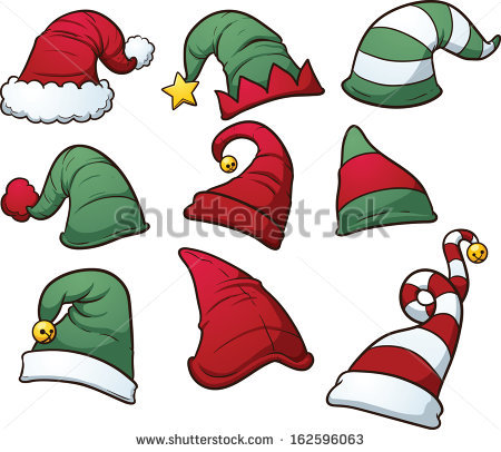 Christmas hats clip art. Vector cartoon illustration with simple gradients. Each hat on a