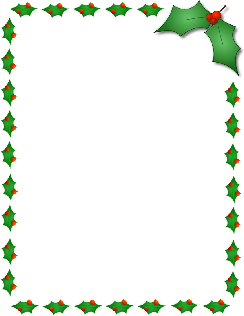 Christmas Holly Border Page Page Frames -Christmas Holly Border Page Page Frames Holiday Christmas Holly-1