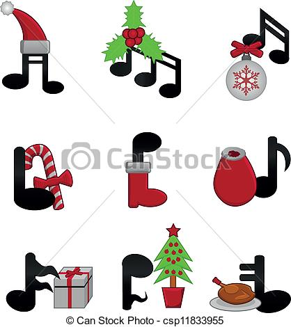 Christmas music - music notes with Christmas elements .