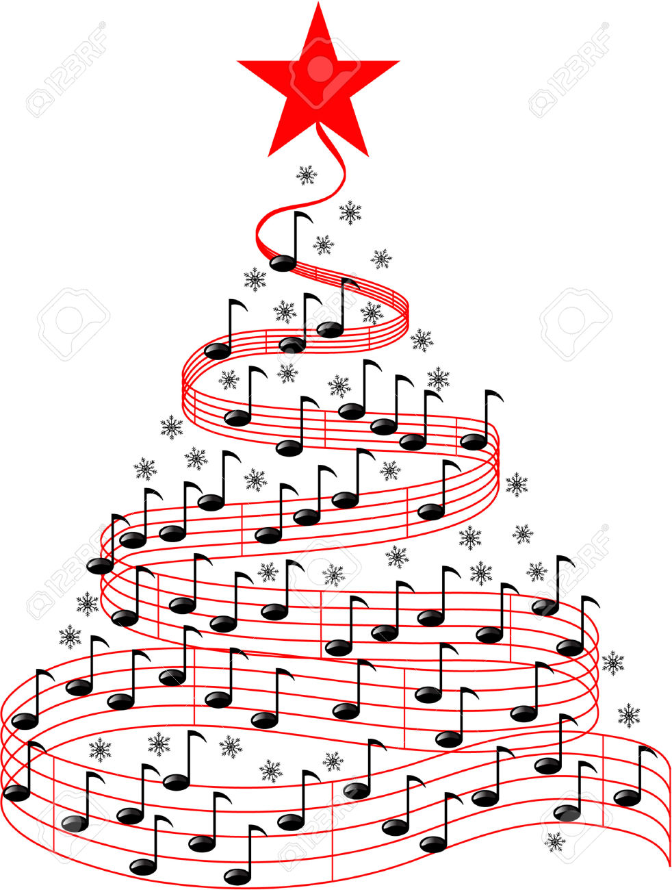 Christmas music notes clipart .