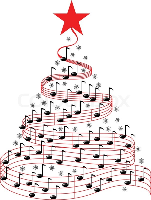 Christmas music notes clipart . CHRISTMAS MUSIC TREE, vector