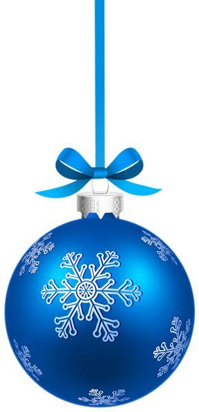 Blue Christmas Hanging Ball with Snowflakes PNG Clipart Image