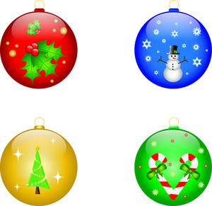Christmas Ornament Clipart Four Christma-Christmas Ornament Clipart Four Christmas Ornaments Holly Snowman-11
