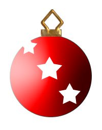 Red 3d Christmas Tree Ornament with Stars